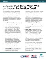 Evaluation FAQ: How Much Will an Impact Evaluation Cost?