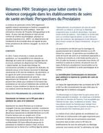 Résumés PRH: Stratégies pour lutter contre la violence conjugale dans les établissements de soins de santé en Haiti: Perspectives du prestataire