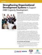 Strengthening Organizational Development Systems to Support M&E Capacity Development