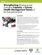 Strengthening Monitoring and Evaluation Capacity of County Health Management Teams at the Sub-national Level