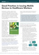 Good Practices in Issuing Mobile Devices to Healthcare Workers