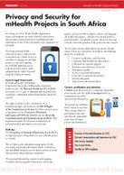 Privacy and Security for mHealth Projects in South Africa
