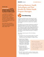 Defining Electronic Health Technologies and Their Benefits for Global Health Program Managers: Crowdsourcing