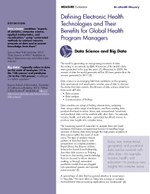 Defining Electronic Health Technologies and Their Benefits for Global Health Program Managers: Data Science and Big Data