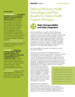 Defining Electronic Health Technologies and Their Benefits for Global Health Program Managers: Data Interoperability and Data Integration