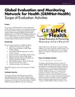 Global Evaluation and Monitoring Network for Health (GEMNet-Health) Scope of Evaluation Activities