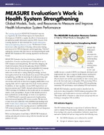 MEASURE Evaluation's Work in Health System Strengthening: Global Models, Tools, and Resources to Measure and Improve Health Information System Performance