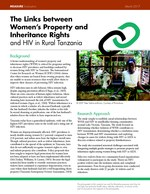 The Links between Women's Property and Inheritance Rights and HIV in Rural Tanzania