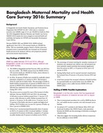 Bangladesh Maternal Mortality and Health Care Survey 2016: Summary