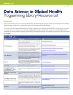 Data Science in Global Health: Programming Library/Resource List