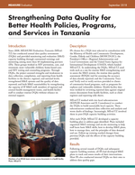 Strengthening Data Quality for Better Health Policies, Programs, and Services in Tanzania