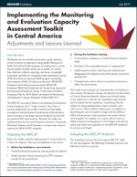 Implementing the Monitoring and Evaluation Capacity Assessment Toolkit in Central America: Adjustments and Lessons Learned