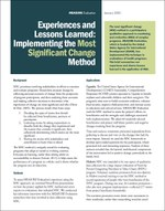Experiences and Lessons Learned: Implementing the Most Significant Change Method