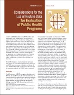 Considerations for the Use of Routine Data for Evaluation of Public Health Programs