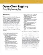 Open Client Registry: Final Deliverables