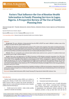 Factors That Influence the Use of Routine Health Information in Family Planning Services in Lagos, Nigeria. A Prospective Review of The Use of Family Planning Data