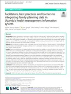 Facilitators, best practices and barriers to integrating family planning data in Uganda's health management information system