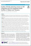 Quality of family planning services in HIV integrated and non-integrated health facilities in Malawi and Tanzania