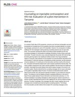 Counseling on injectable contraception and HIV risk: Evaluation of a pilot intervention in Tanzania