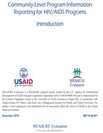Community-Level Program Information Reporting for HIV/AIDS Programs: Introduction