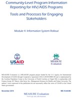 Community-Level Program Information Reporting for HIV/AIDS Programs. Module 4: Information System Rollout