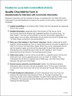 Priorities for Local AIDS Control Efforts (PLACE): Quality Checklist for Form A