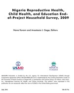 Nigeria Reproductive Health, Child Health, and Education End-of-Project Household Survey, 2009