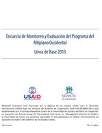 Encuesta de Monitoreo y Evaluación del Programa del Altiplano Occidental, Línea de Base 2013