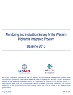 Monitoring and Evaluation Survey for the Western Highlands Integrated Program, Baseline 2013