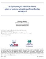 Les opportunités pour atteindre les femmes qui ont un besoin non satisfait de planification familiale à Madagascar