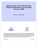 Nigeria End-of-Project Primary School Headmaster and Teacher Survey, 2009