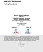 Women's Health in the Russian Federation: The Russia Longitudinal Monitoring Survey 2010