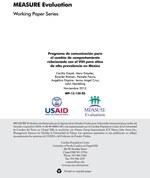 Programa de comunicación para el cambio de comportamiento relacionado con el VIH para sitios de alta prevalencia en México