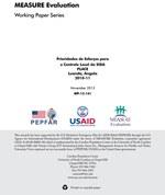 Prioridades de Esforços para o Controle Local da SIDA: PLACE, Luanda, Angola, 2010-11