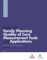 Review of Family Planning Quality of Care Measurement Tools and Applications